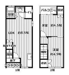 Osaka Metro今里筋線 蒲生四丁目駅 徒歩8分の賃貸一戸建て 2LDKの間取り