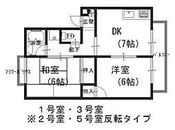 モアクレスト北花田[2階]の間取り
