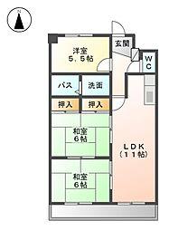 アスピア若鶴[4階]の間取り