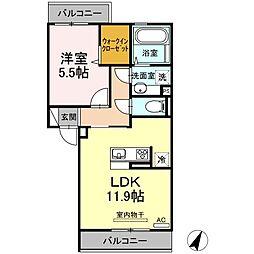 JR豊肥本線 竜田口駅 4.4kmの賃貸アパート 2階1LDKの間取り