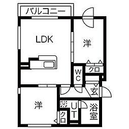 北海道札幌市中央区南十一条西9丁目の賃貸マンションの間取り