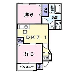埼玉県朝霞市幸町2丁目の賃貸アパートの間取り