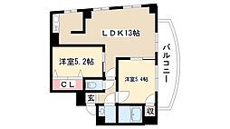 愛知県名古屋市昭和区山里町の賃貸マンションの間取り