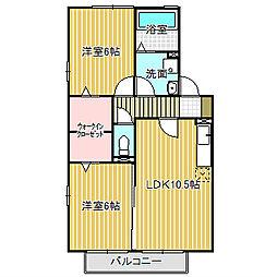 愛知県名古屋市中川区丹後町1丁目の賃貸アパートの間取り
