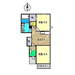 セゾン ジェルメ III[1階]の間取り