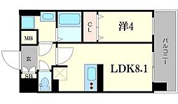 スワンズシティ大阪城ノース 9階1LDKの間取り