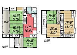 京成本線 京成成田駅 バス20分 富里中央下車 徒歩2分の賃貸一戸建て 1階6LDKの間取り