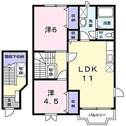 長野県松本市小屋北2丁目の賃貸アパートの間取り