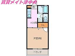 三重県津市港町の賃貸アパートの間取り