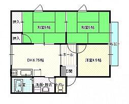 共立松ヶ丘アパート[2階]の間取り