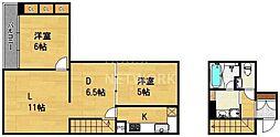 ヴェルビュ二条城東[201号室号室]の間取り