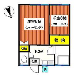 神奈川県横浜市鶴見区矢向2丁目の賃貸アパートの間取り