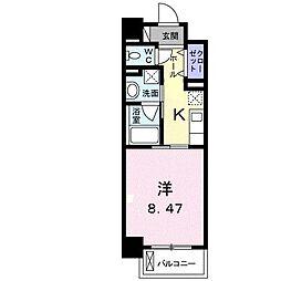 クラール花ノ宮(マンション) 1階1Kの間取り