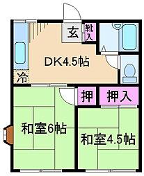 東京都足立区鹿浜4丁目の賃貸アパートの間取り