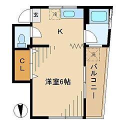 東京都中野区中央1丁目の賃貸アパートの間取り
