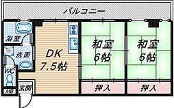 大阪府豊中市曽根東町2丁目の賃貸マンションの間取り