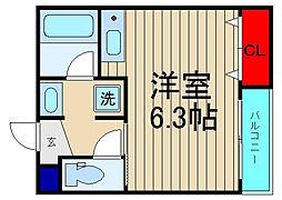 天王寺北マンション[103号室]の間取り