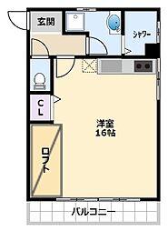 阪神本線 甲子園駅 徒歩9分の賃貸マンション 2階ワンルームの間取り