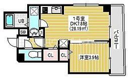 BRIGHT FUTURE東大島 5階1DKの間取り