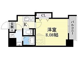 ドゥエリングASAHI 5階1Kの間取り