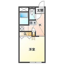 JR赤穂線 邑久駅 徒歩13分の賃貸アパート 2階1Kの間取り