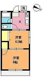 埼玉県上尾市緑丘3丁目の賃貸アパートの間取り
