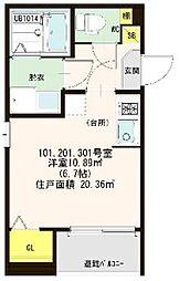 仮称)ハ−モニ−テラス大阪市西淀川区歌島一丁目8A[301号室]の間取り