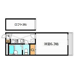大阪府大東市新田旭町の賃貸アパートの間取り