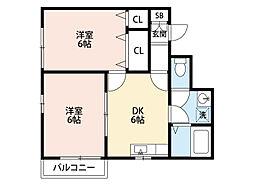 福岡県北九州市小倉南区朽網東3丁目の賃貸アパートの間取り