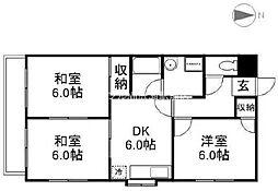 グランデュール東古松[6階]の間取り