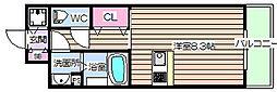 大阪府大阪市福島区海老江1丁目の賃貸マンションの間取り