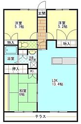 コーナス・ガーデンA棟[4階]の間取り
