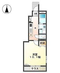 柳川市蒲船津アパートA[1階]の間取り