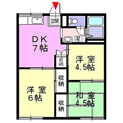 神奈川県南足柄市狩野の賃貸アパートの間取り