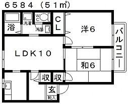 プレジール樫山[A202号室号室]の間取り