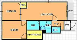 河内花園駅徒歩7分 メゾンエクセル[203号室]の間取り