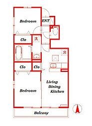 クレールハウス[1階]の間取り