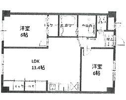 安堂寺マンション[402号室]の間取り