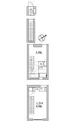 東京メトロ千代田線 代々木上原駅 徒歩9分の賃貸マンション 1階1LDKの間取り