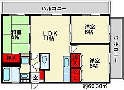 福岡県大野城市乙金台2丁目の賃貸マンションの間取り