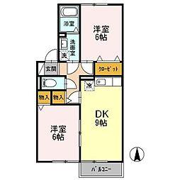 愛知県名古屋市中川区戸田5の賃貸アパートの間取り