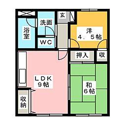 リーセイント B棟[1階]の間取り