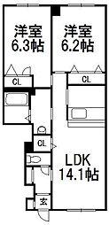 北海道札幌市中央区南六条西13丁目の賃貸アパートの間取り
