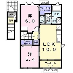 ラ・フォンテKI[2階]の間取り