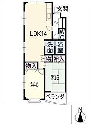 ジュネスHIRO平針[4階]の間取り