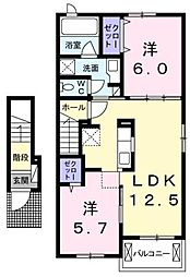 香川県高松市仏生山町乙の賃貸アパートの間取り