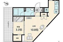 東急世田谷線 上町駅 徒歩1分の賃貸マンション 4階1LDKの間取り