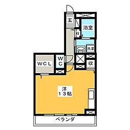 Comodo Satsuki 1階ワンルームの間取り