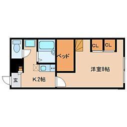 近鉄京都線 平城駅 徒歩14分の賃貸マンション 1階1Kの間取り