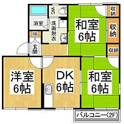 タウニィ・セントラル A棟[2階]の間取り